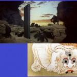 一枚岩と塗壁